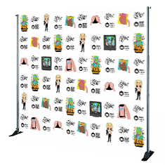 full color media wall step repeat print
